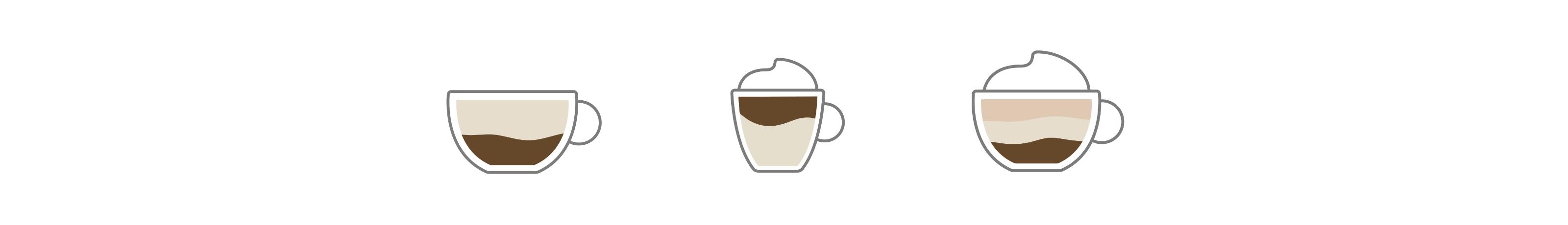 Flat white, latte macchiato and cappuccino icons
