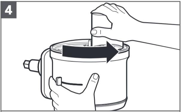 So setzen Sie die Würfelscheibe und das Würfelmesser ein, Schritt4