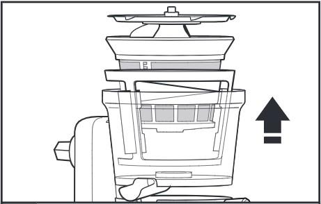 So reinigen Sie den Entsafter für Küchenmaschinen, Schritt1