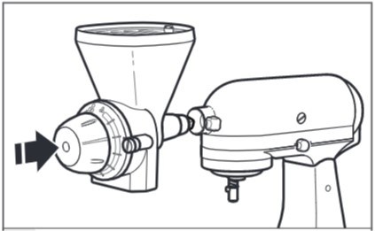 how do you attach the grain mill to the mixer step 3