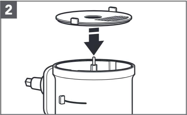 So setzen Sie die Würfelscheibe und das Würfelmesser ein, Schritt2