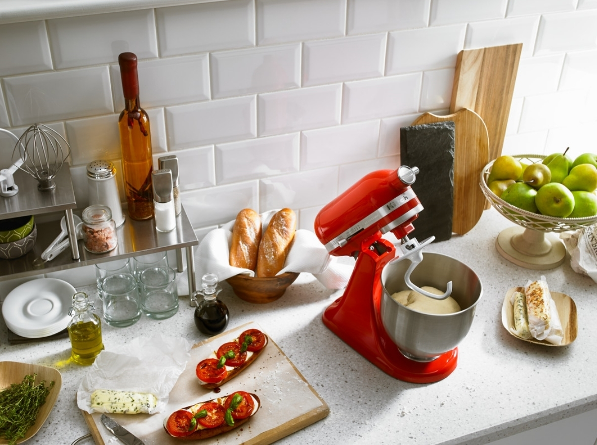 Red mixer tilt head with dough hook