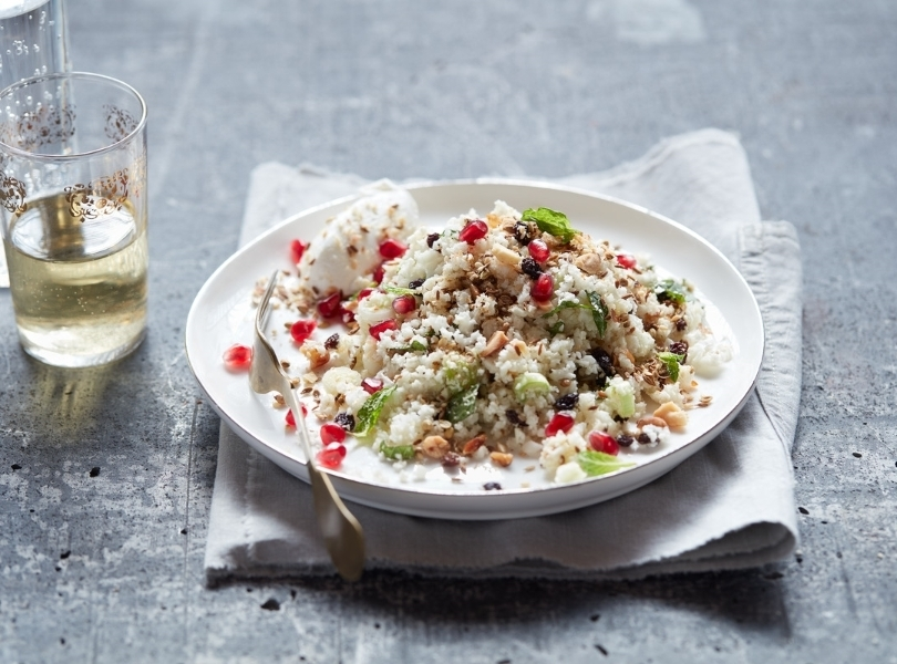 Rice salad with pomegranata