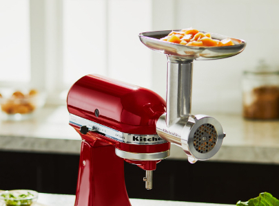 Red mixer with meat grinder