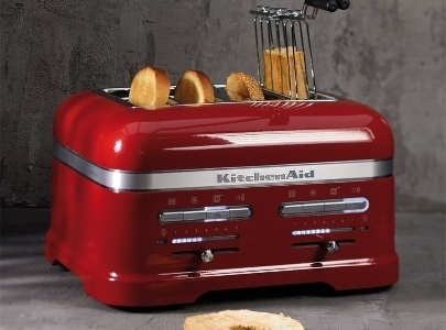 Red toaster 4 slice - Artisan with sandwich rack