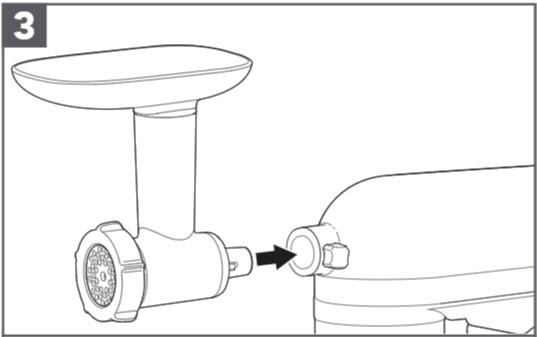 comment fixer le hachoir à viande en plastique au robot pâtissier étape3