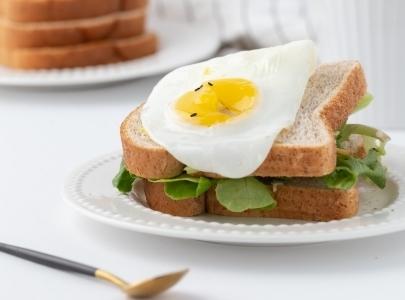Fried egg on salad sandwich