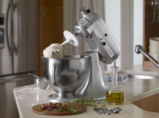 Stainless steel mixer tilt head and mixing bowl with dough hook attachment