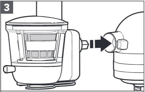 So befestigen Sie den Entsafter an der Küchenmaschine, Schritt3