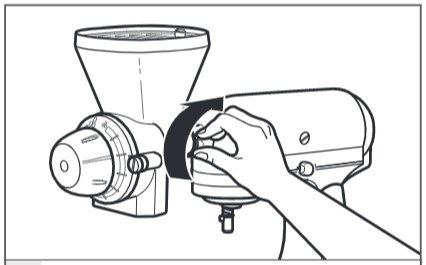 how do you attach the grain mill to the mixer step 4