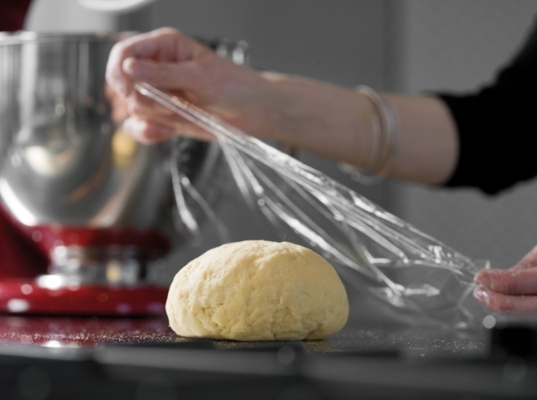 Pasta dough done with red mixer