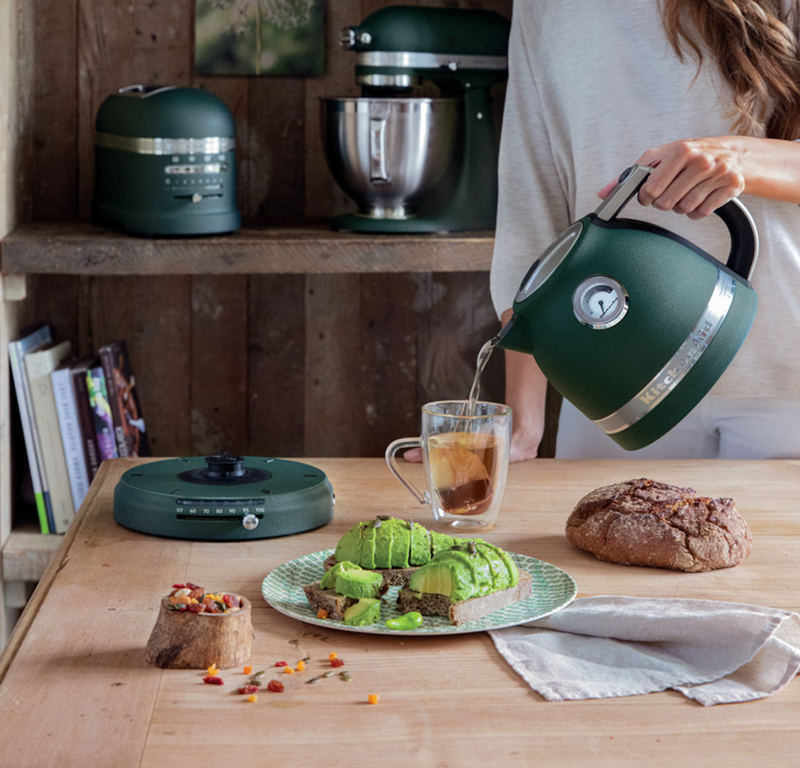 Green variable temperature kettle and avocado toast