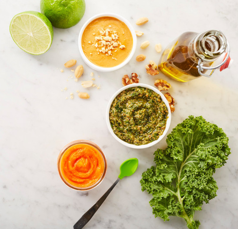 Baby food carrot and cabbage purées
