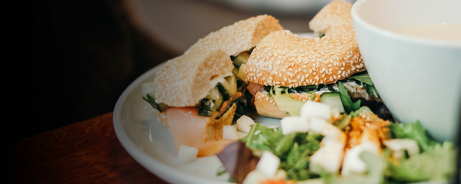 Bagels with salad