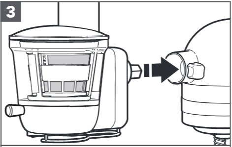 how do you attach the slow juicer to the mixer step 3