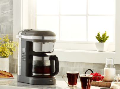 Grey drip coffee maker