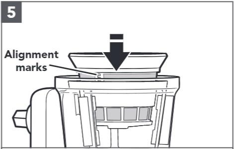 So bauen Sie den Entsafter für Küchenmaschinen zusammen, Schritt5