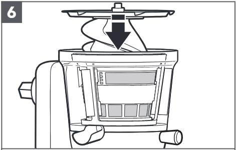 So bauen Sie den Entsafter für Küchenmaschinen zusammen, Schritt6
