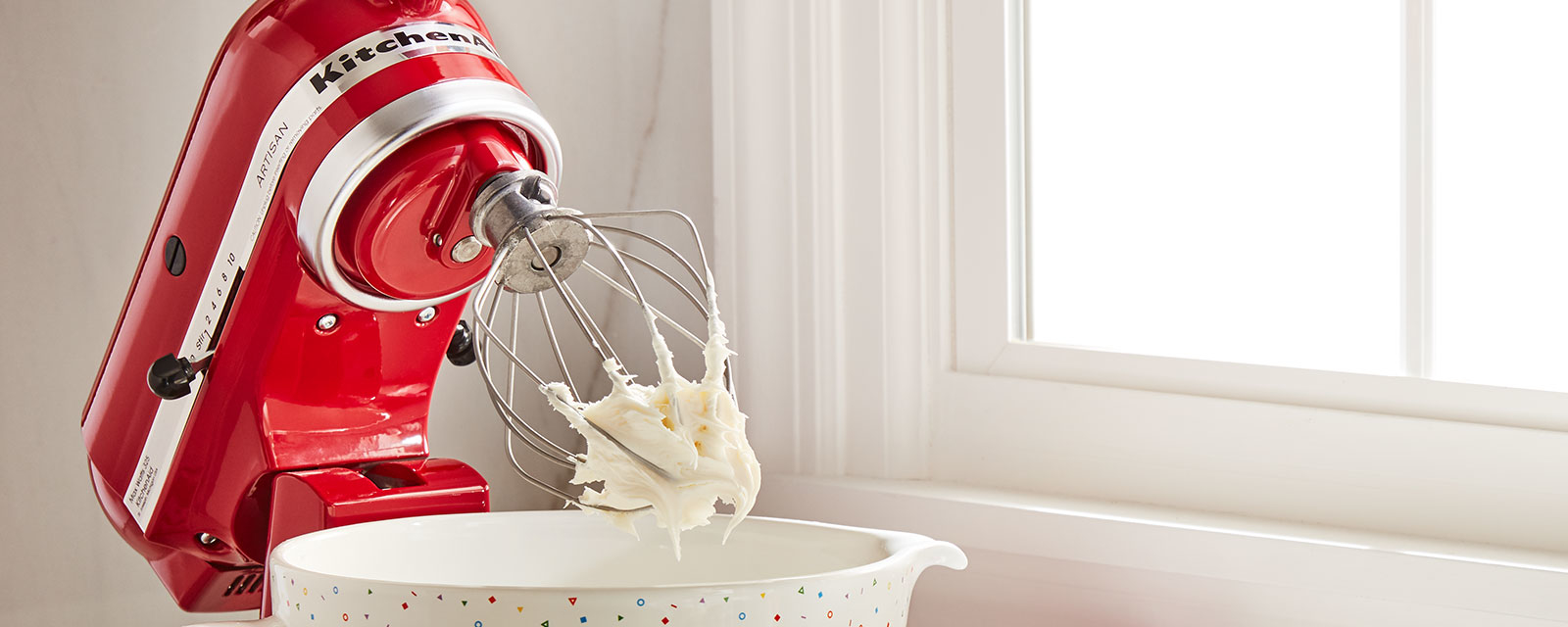 Red mixer with whisk