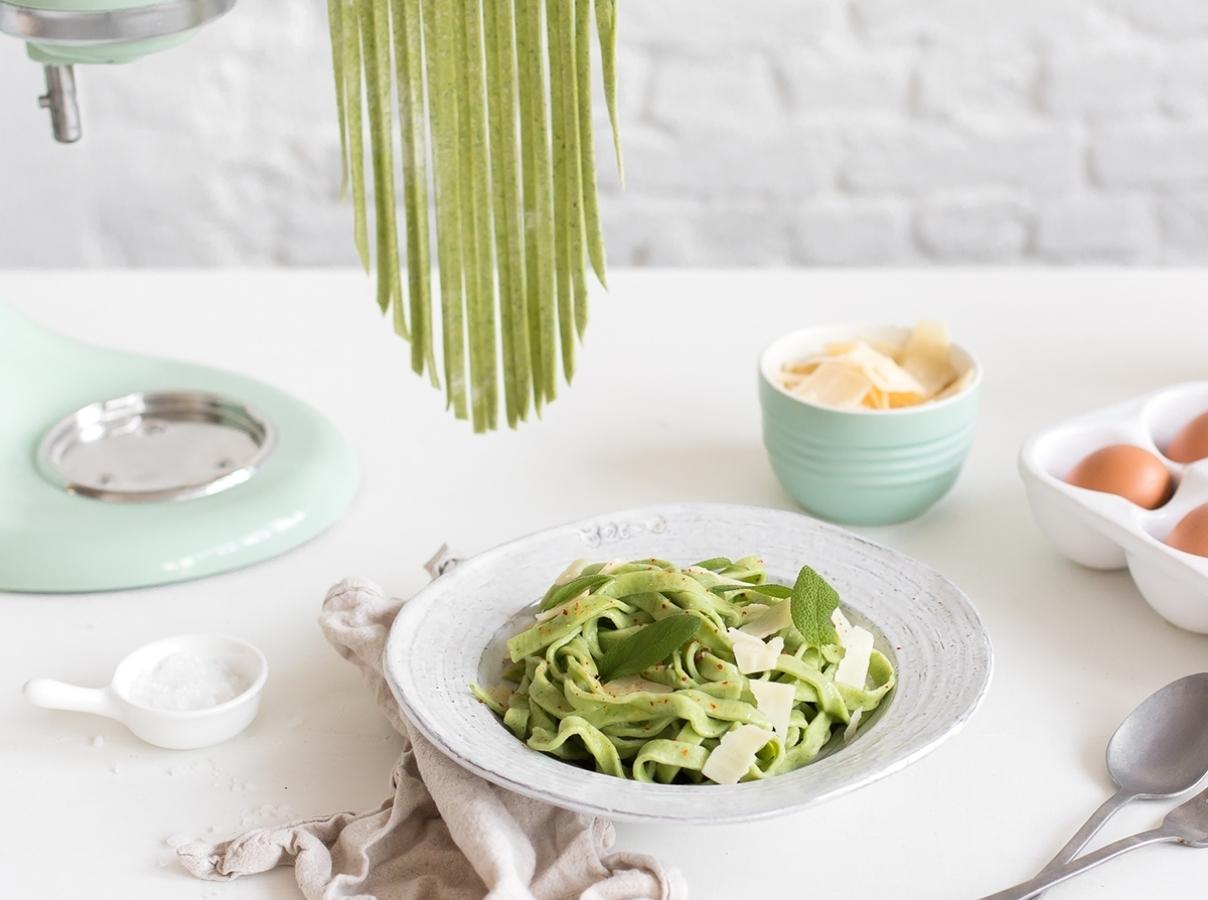 Homemade green fettucine