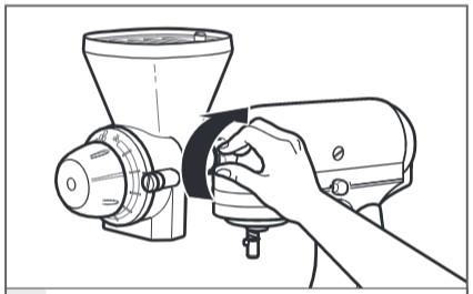 So befestigen Sie die Getreidemühle an der Küchenmaschine Schritt 4