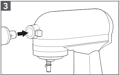 how to attach the meat grinder to the mixer step 3