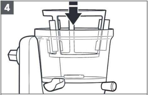 So bauen Sie den Entsafter für Küchenmaschinen zusammen, Schritt4