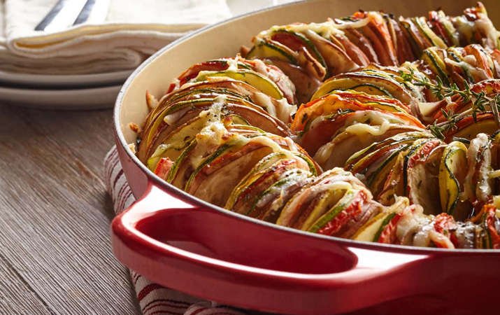 Ratatouille in a red dish