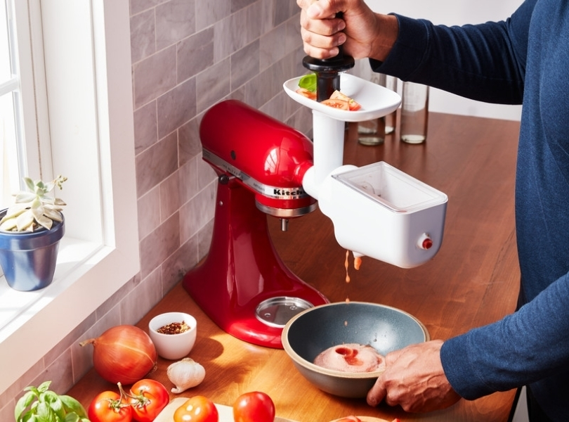 Food strainer extension pack on red mixer