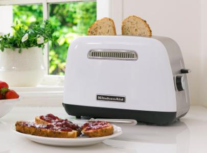 White toaster 2 slice and jam toast