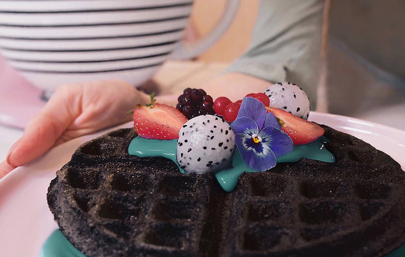 Vegan charcoal waffles with spirulina coconut yoghurt