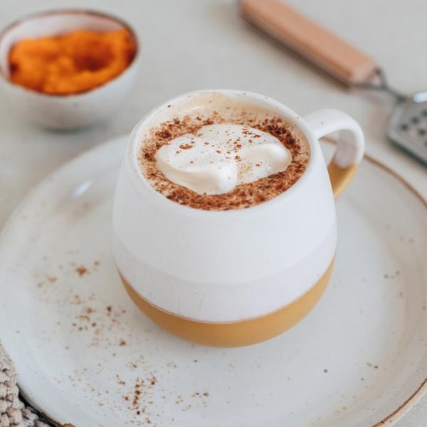 Pumpkin spice latte coffee in a cup